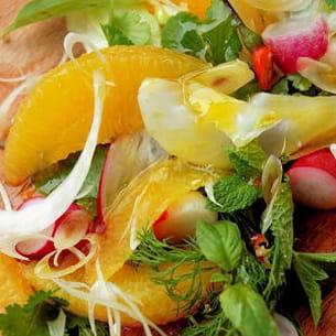 salade d'oranges aux herbes acidulées