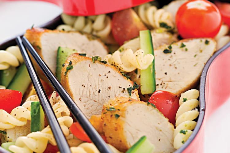 Salade de pâtes à l'émincé de poulet mariné au pesto
