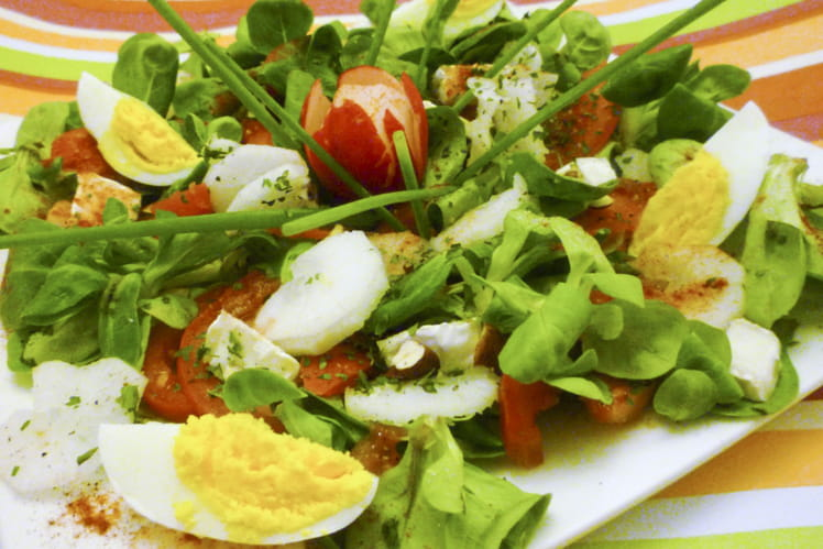 Salade méli-mélo mâche, radis, tomates, oeuf et chèvre