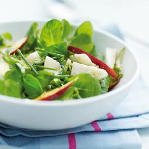 salade de mâche aux nectarines et chèvre sec