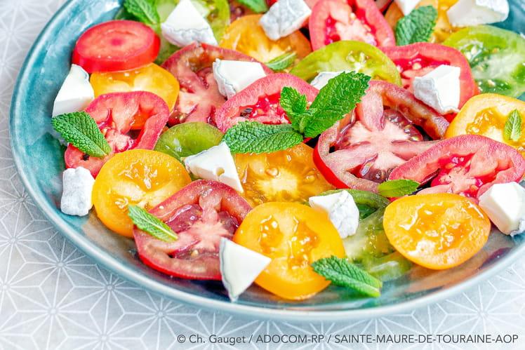 Carpaccio de tomates colorées au Sainte Maure De Touraine AOP