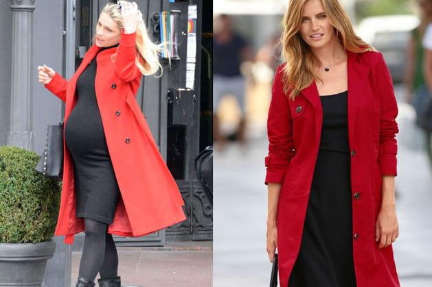 Michelle Hunziker : un manteau rouge