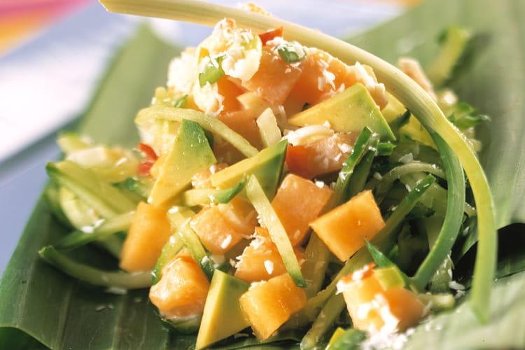Salade épicée au melon philbon et crème de coco