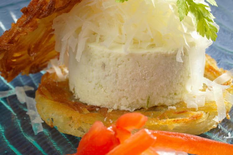 Hamburger mousseline d'oignons nouveaux et Ossau-Iraty