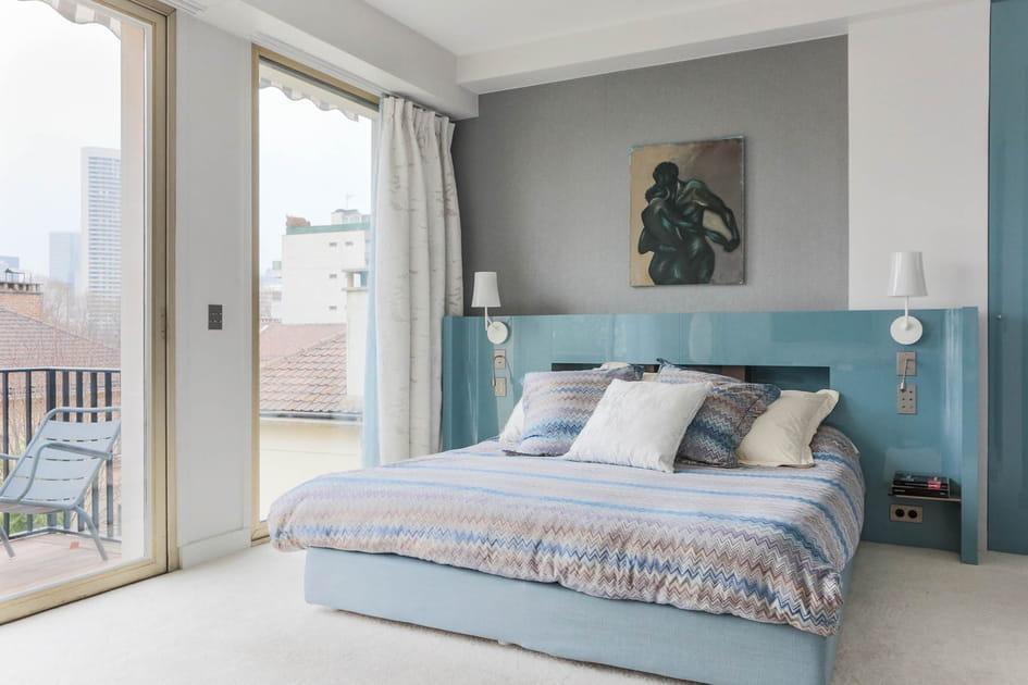 Chambre bleu laqué