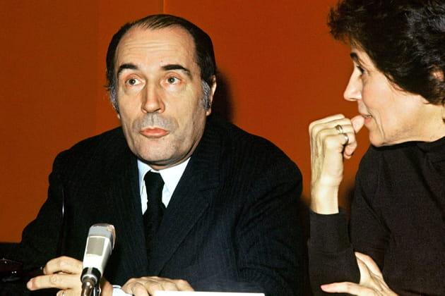 Avec Francoise Giroud, lors d'une conférence de presse, en 1972