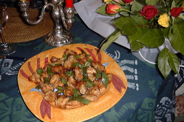 Tempura de poulets et de poivrons