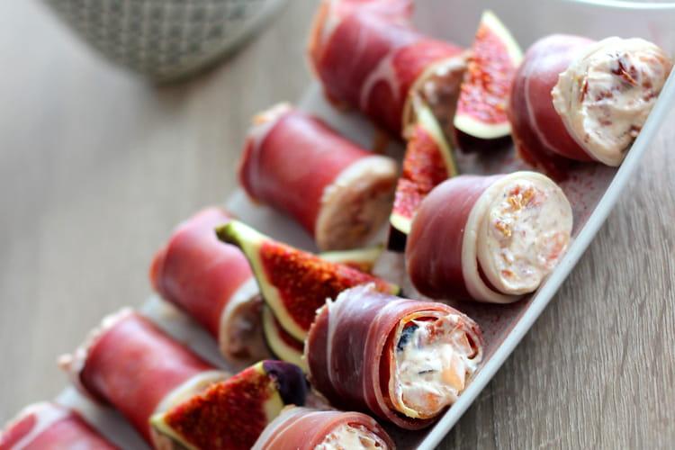 Roulés de jambon de Bayonne, figues et melon