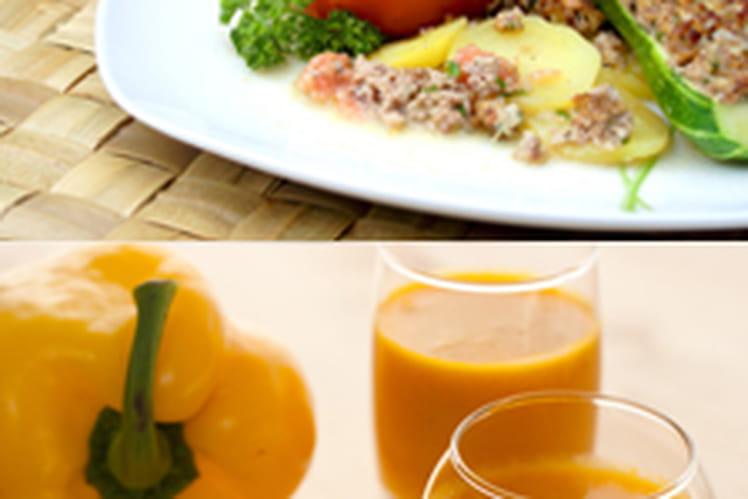 Soupe froide de poivron doux & épices accompagnée de ses légumes farcis
