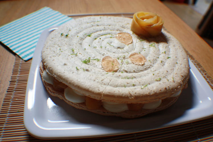 Macaron géant mangue-ananas