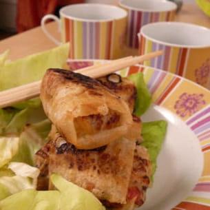 nems au poulet et aux légumes
