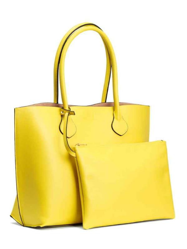 sac de shopping avec pochette de h m. Black Bedroom Furniture Sets. Home Design Ideas