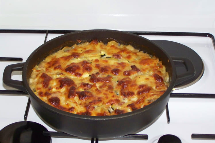 Gratin de courgettes, pommes de terre et chair à saucisses