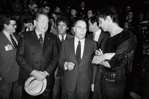 Avec François Mitterrand et Charles Trénet à l'inaguration du Zenith à Paris