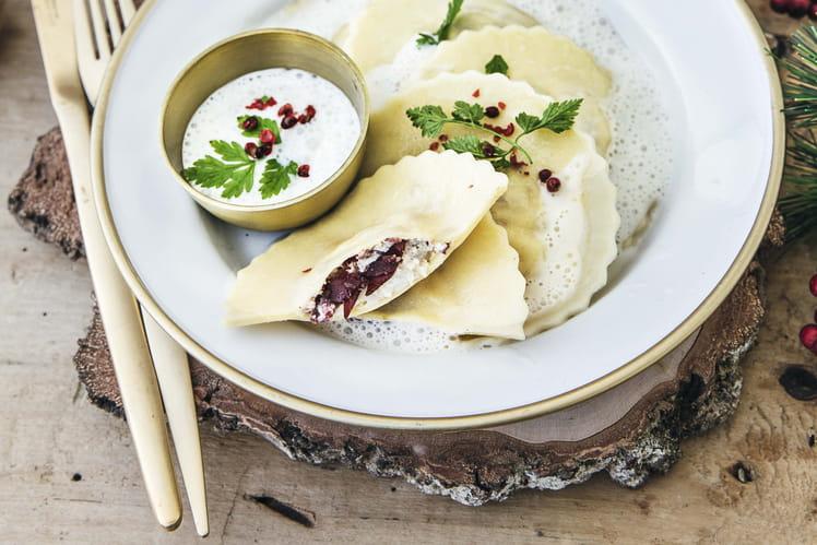 Ravioles langoustine, ricotta et noix de bœuf Aoste, émulsion lait de coco citronnelle
