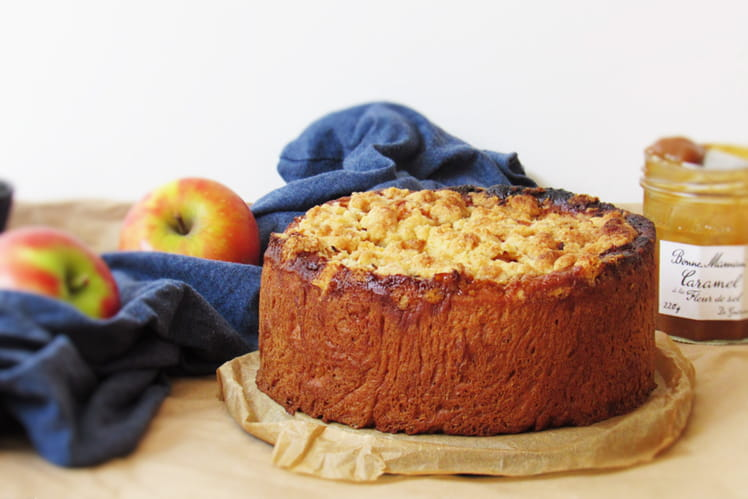 Gâteau placek aux pommes et caramel à la fleur de sel