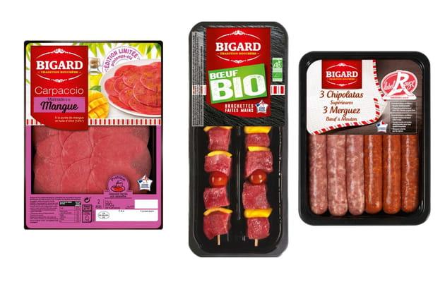 """Le carpaccio pur bœuf , les brochettes Bio et les saucisses """" Label Rouge """" de Bigard"""