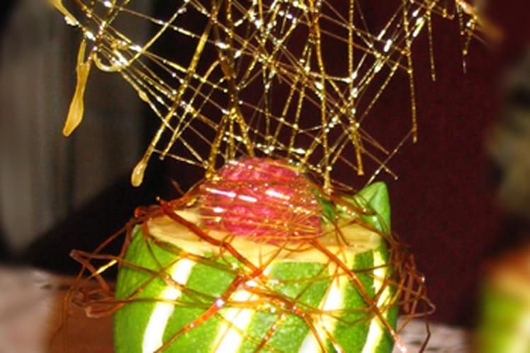 Crème brûlée aux fruits exotiques et  framboises