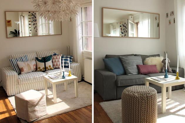 Relooking d'hiver d'un canapé IKEA avec Bemz et La Décorruptible