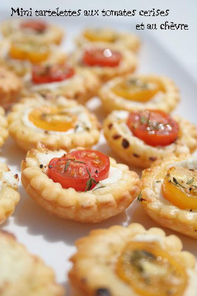 recette de mini tartelettes aux tomates cerises et au ch vre la recette facile. Black Bedroom Furniture Sets. Home Design Ideas