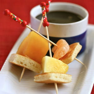fondue banania aux fruits d'hiver et blinis