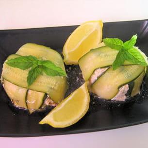 charlottes de courgettes au saumon