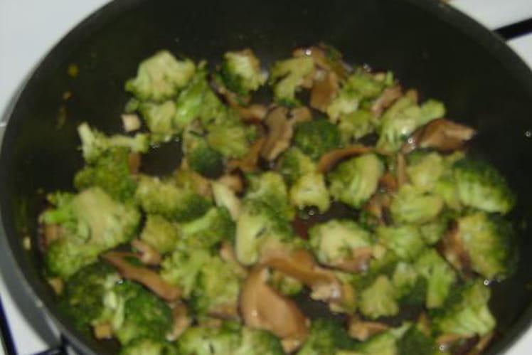 Brocolis sautés aux champignons parfumés