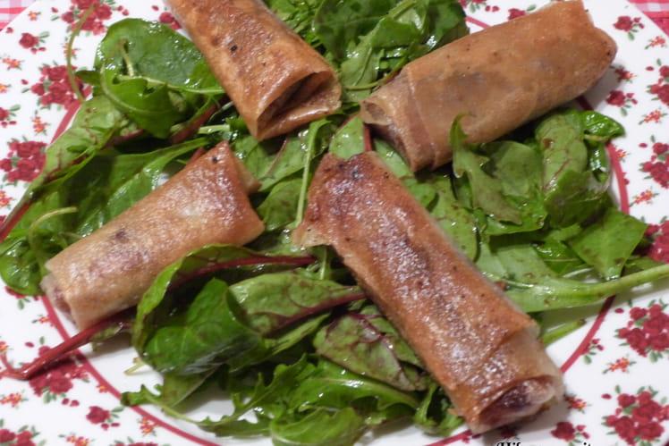 Nems de foie gras-pain d'épices, mesclun truffé