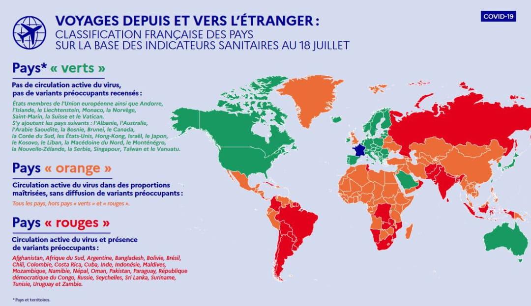 carte pays couleur voyage covid