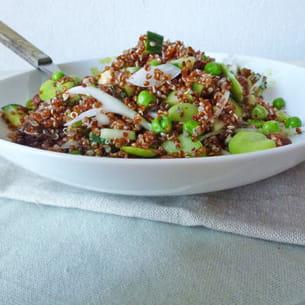 Salade de quinoa rouge aux f ves et petits pois frais - Comment cuire les petit pois du jardin ...