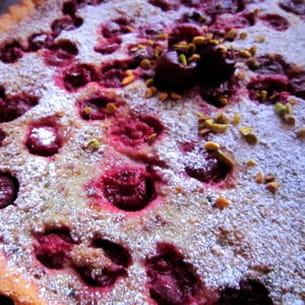 tarte pistaches et griottes