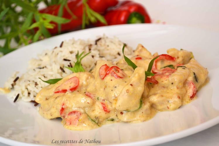 Poulet à la moutarde, estragon et poivron doux du Chili