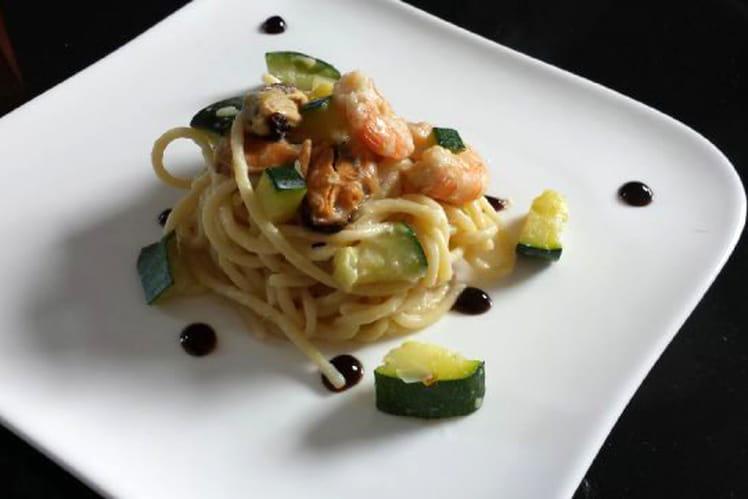 Spaghetti fruits de mer et courgette