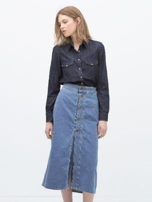 super populaire 9a63f 02873 Jupe longue boutons en jean bleu de Zara