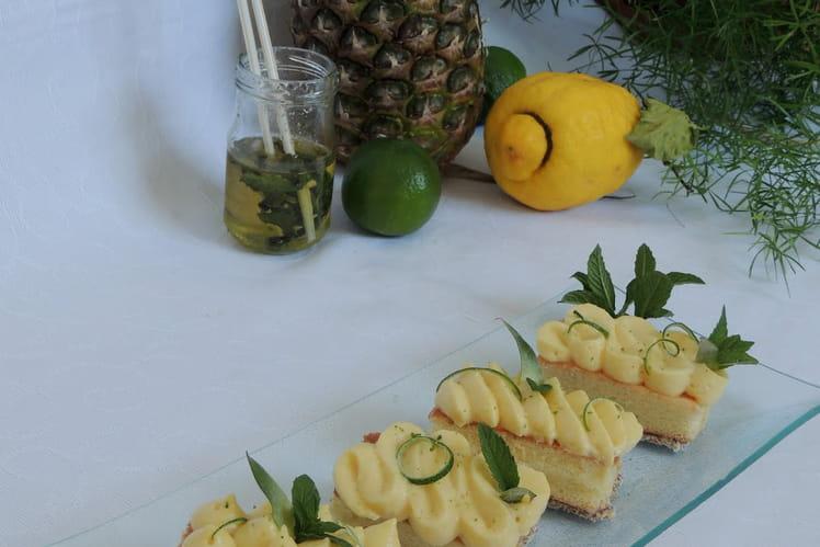 Entremets au citron vert, menthe et ananas, façon mojito