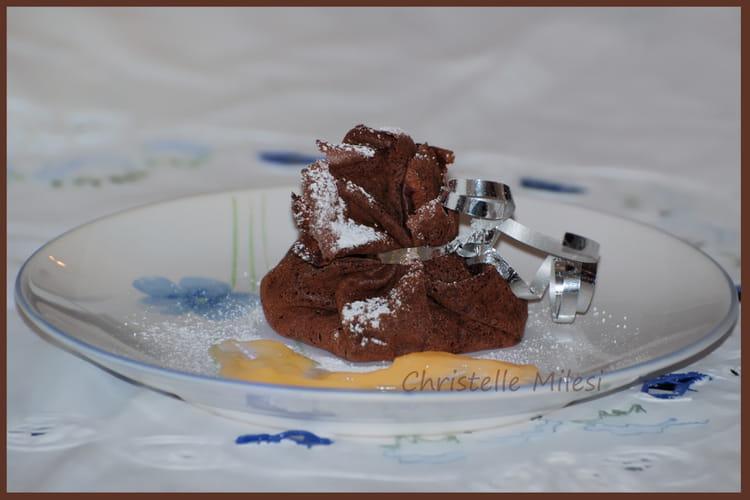 Aumônières chocolatées, crème au citron