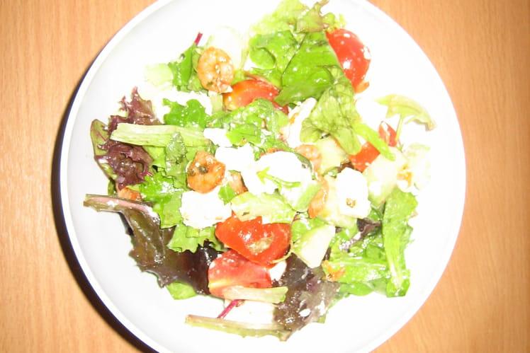 Salade aux crevettes et feta