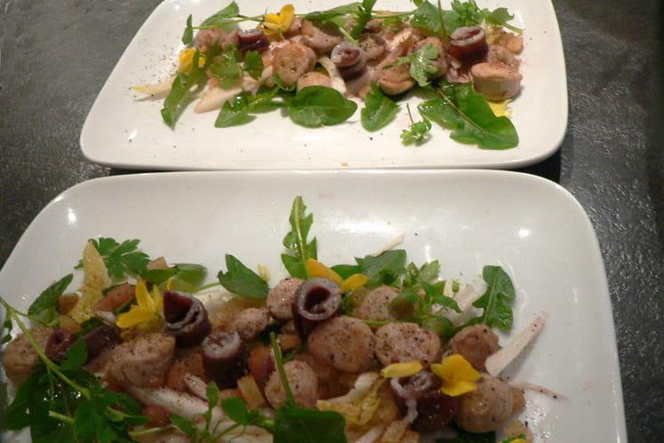 Salade de boudin blanc et magret séché aux herbes tendres