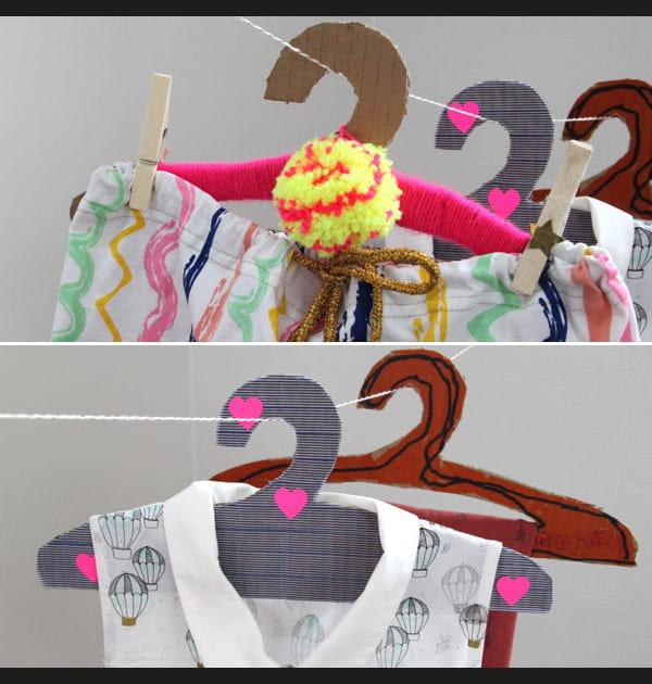 DIY: fabriquer des cintres en carton avec les enfants