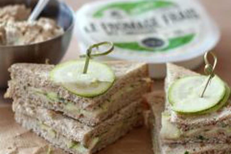 Club sandwiches thon, fromage frais et courgettes