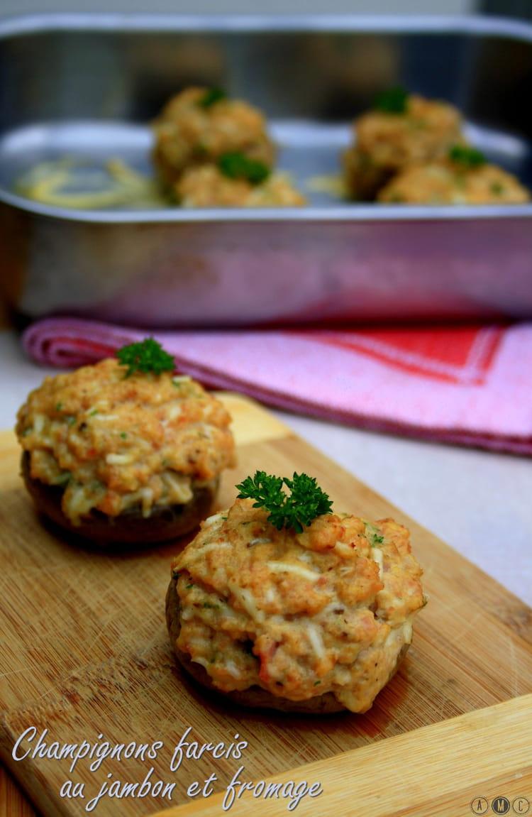 Recette de Champignons farcis au jambon et fromage