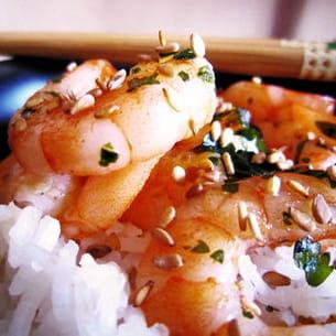 crevettes sautées ail et curry