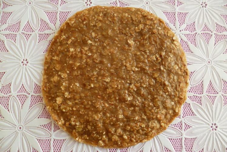 Pancake cru végan sans gluten noisette amande au soja et aux flocons de sarrasin