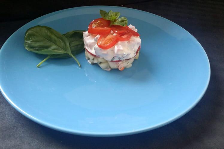 Concombre au surimi, tomate et jambon