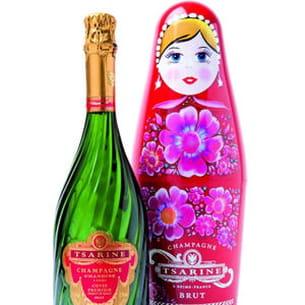 champagne tsarine chez monoprix, bouteille matrioska