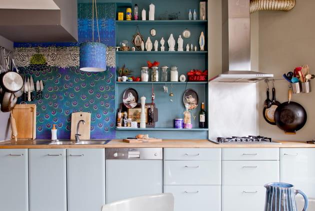 Camaïeu de bleus côté cuisine