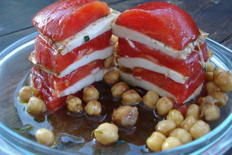 Mille-feuille de tomates-mozzarella et ses pois chiches