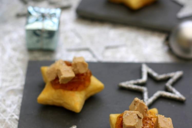 Feuilletés étoilés au foie gras et à la figue