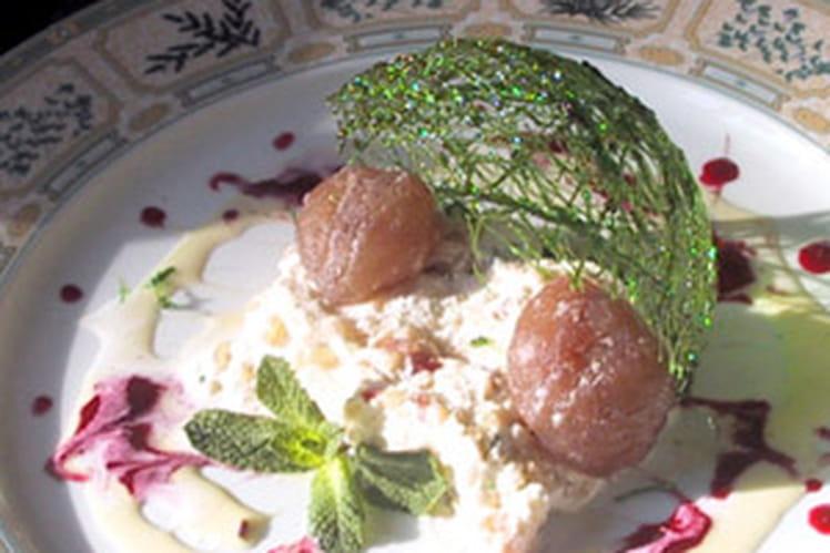 Nougat glacé aux marrons confits et miel de lavande