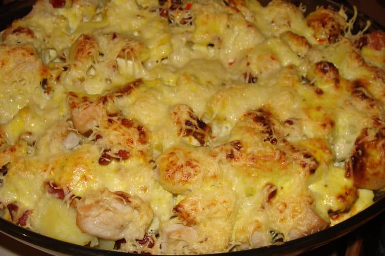 Gratin chou romanesco, poulet, lardons et chorizo
